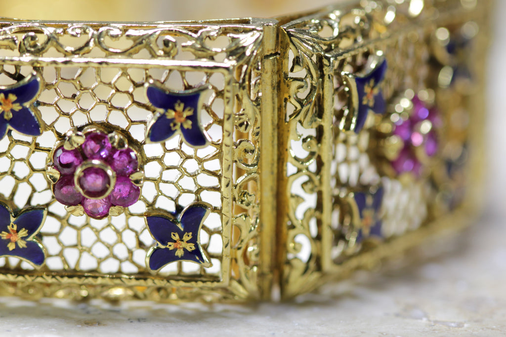 ANTIQUE WIDE ENAMEL FILIGREE BRACELET 18K YELLOW GOLD ROUND RUBY LADIES 3.43CTW