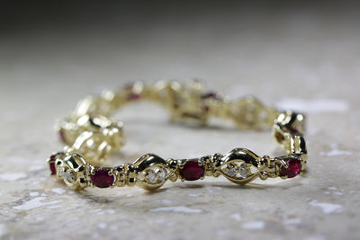 ESTATE DIAMOND & OVAL CUT RUBY TENNIS BRACELET 14K YELLOW GOLD LADIES