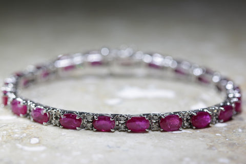 MODERN DIAMOND & OVAL CUT RUBY TENNIS BRACELET 14K WHITE GOLD LADIES 11.34CTW