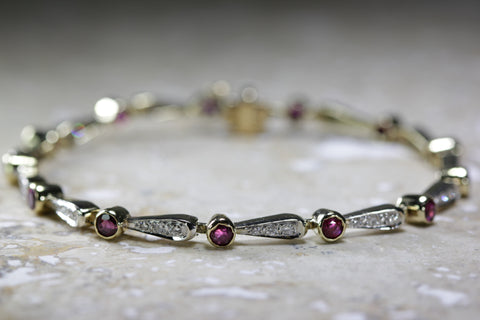 ANTIQUE DIAMOND & ROUND CUT RUBY TENNIS BRACELET 14K YELLOW GOLD LADIES