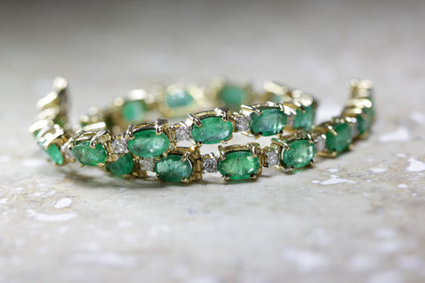 MODERN DIAMOND & OVAL CUT EMERALD TENNIS BRACELET 14K YELLOW GOLD LADIES 12.50C