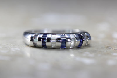MODERN 14k WHITE GOLD BAGUETTE SAPPHIRE & DIAMOND SOLID BAND RING 1.65 CTW