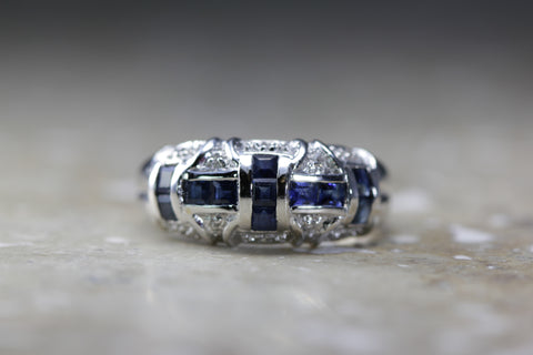ANTIQUE 14k WHITE GOLD PRINCESS SAPPHIRE & DIAMOND BAND RING 1.20 CTW
