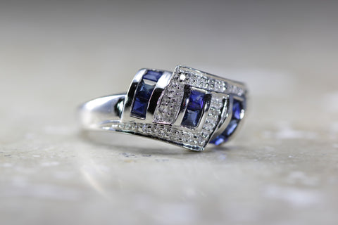 14k WHITE GOLD PRINCESS SAPPHIRE and PAVE DIAMOND BAND RING .48 CTW