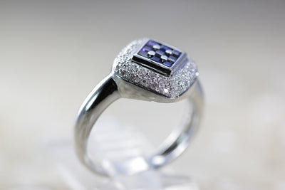 SQUARE 14k WHITE GOLD PRINCESS SAPPHIRE & DIAMOND BAND RING PAVE SET .90 CTW