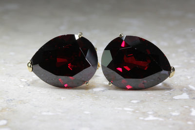 MODERN 14KT GOLD GARNET PEAR SHAPE EARRING LARGE 15 X 20