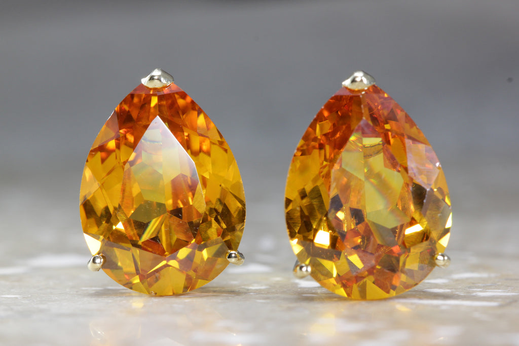 MODERN 14K GOLD CITRINE PEAR SHAPE EARRING 14CT 14 KARAT LARGE 15 X 20 EARRINGS