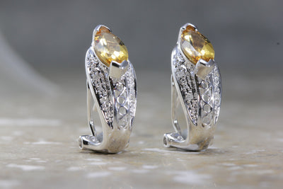 WHITE GOLD LADYS EARRINGS GOLDEN TOPAZ & DIAMONDS OMEGA BACK 14k