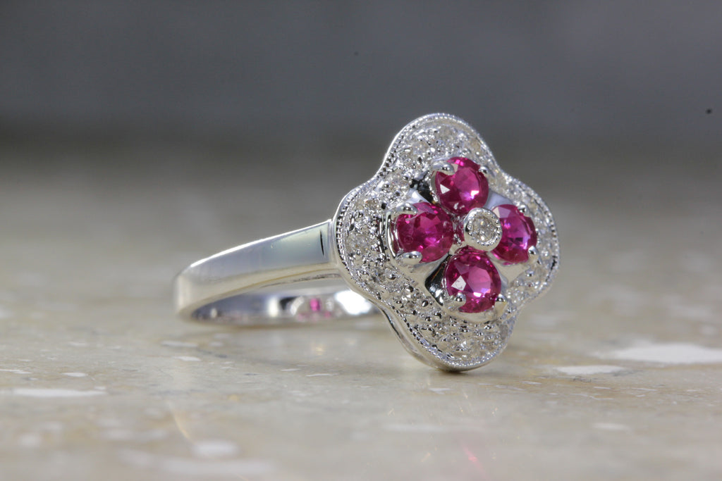 14K WHITE GOLD RING FLOWER SHAPE RUBY ROUND DIAMOND .97CT