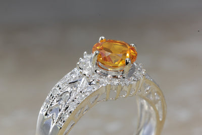 ANTIQUE 14k WHITE GOLD LADIES CITRINE & DIAMOND DIAMOND CUT ART DECO RING 1.48CT