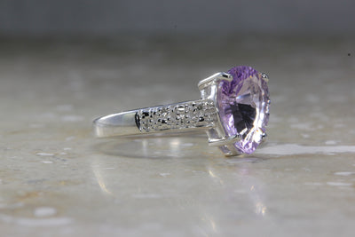 ANTIQUE 14K WHITE GOLD LADIES PEAR SHAPE AMETHYST DIAMOND RING 1.85CT