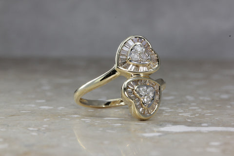 14k YELLOW GOLD DOUBLE HEART SHAPED DIAMOND ROUND & BAGUETTE RING 1.00CT