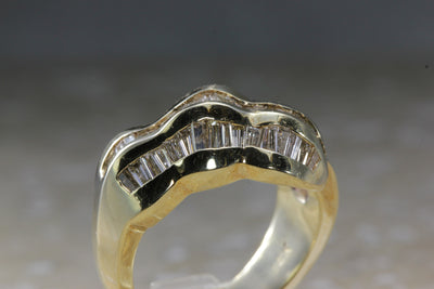 14K YELLOW GOLD DIAMOND RING 1.25 Ct MODERN LADIES BAND BAGUETTE RING GENUINE
