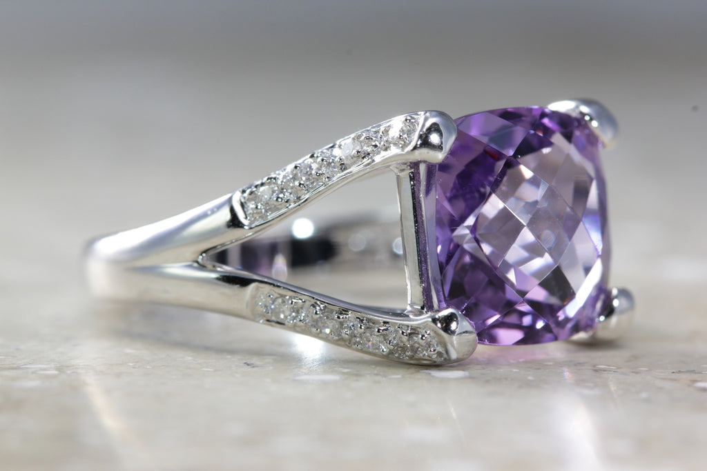 ANTIQUE 14K WHITE GOLD LADYS CHECKERBOARD SHAPE AMETHYST DIAMOND RING 5.35CT