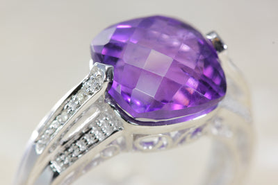 WHITE GOLD LADYS CHECKERBOARD SHAPE AMETHYST DIAMOND RING 4.54CT 14k