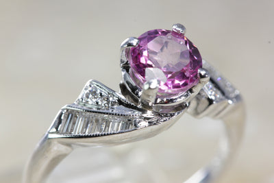 ANTIQUE 14k WHITE GOLD PINK MYSTIC TOPAZ DIAMOND RING 1.78CT VS1 G