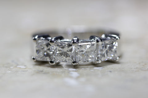 4 STONE 2.50 CT LADIES DIAMOND WEDDING BAND PRINCESS CUT 14K W GOLD