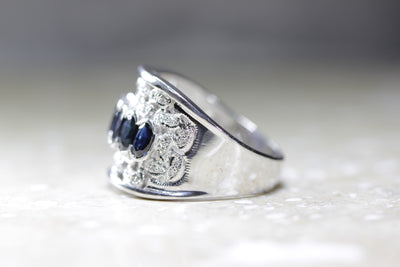 CLASSIC 14K WHITE GOLD SAPPHIRE & DIAMOND WIDE BAND RING FILIGREE 2.25 CTW