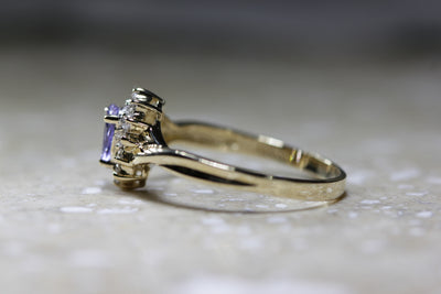 HALO SETTING 14k YELLOW GOLD LADIES TANZANITE & DIAMOND ENGAGEMENT RING