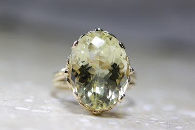 ANTIQUE 14k YELLOW GOLD LEMON QUARTZ CHECKERBOARD RING LADIES