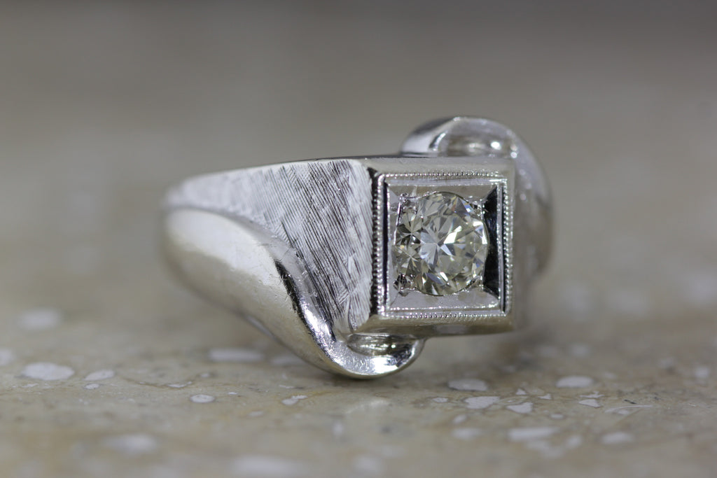 ANTIQUE MENS 14K W GOLD DIAMOND SOLITAIRE RING SOLIDE EURO CUT