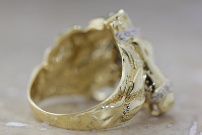 14k YELLOW GOLD MENS HORSE RING & DIAMONDS SOLID