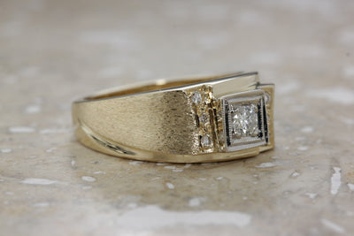 MENS ANTIQUE 14K YELLOW GOLD DIAMOND SOLITAIRE RING SOLID & SIDE STONES