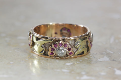 ANTIQUE 14K PINK & YELLOW GOLD LADIES LADIES WEDDING BAND DIAMONDS & RUBY ETERNITY BAND