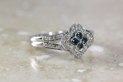 ANTIQUE 14k WHITE GOLD LADIES RING WHITE & BLUE DIAMONDS