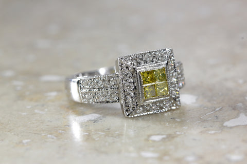 14k WHITE GOLD LADIES DIAMOND RING MODERN  RING FANCY YELLOW AND WHITE DIAMONDS