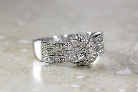 ANTIQUE 14k WHITE GOLD FANCY LADIES BAND DIAMOND RING