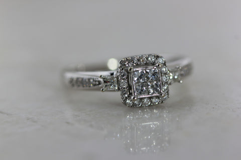 14k WHITE GOLD  ART DECO  ENGAGEMENT RING AND DIAMOND