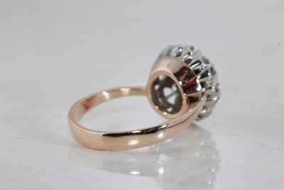 ANTIQUE VICTORIAN 14k WHITE & PINK GOLD SAPPHIRE & DIAMOND RING