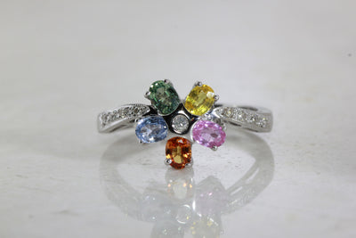 MODERN FLOWER RAINBOW 14k WHITE GOLD SAPPHIRE & DIAMOND RING
