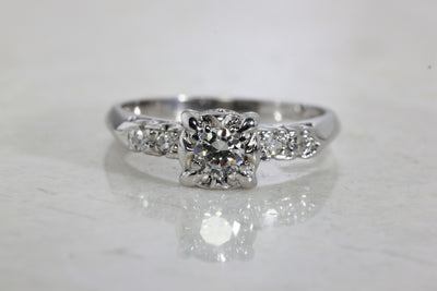 ANTIQUE ENGAGEMENT RING 14k WHITE GOLD DIAMOND RING ILLUSION SETTING 1930 's ART DECO