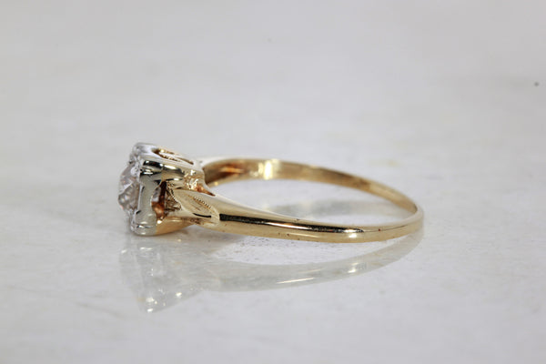 Antique Engagement Ring 14k White Amp Yellow Gold Euro Cut