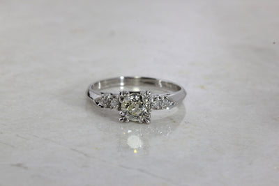ANTIQUE ENGAGEMENT RING PLATINUM DIAMOND RING ILLUSION SETTING 1930 's ART DECO