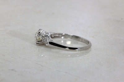 ANTIQUE ENGAGEMENT RING PLATINUM EURO CUT DIAMOND RING ILLUSION SETTING 1930 's ART DECO