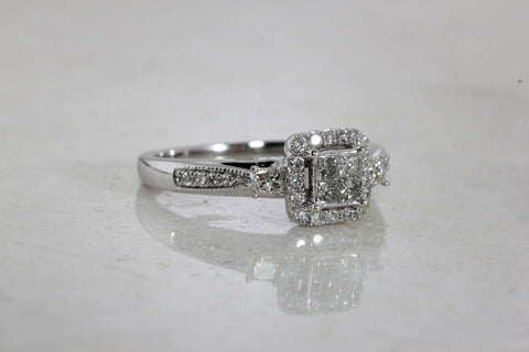 14k WHITE GOLD DIAMOND LADIES ENGAGEMENT RING CLUSTER HELO