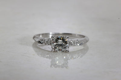 ESTATE ANTIQUE ENGAGEMENT RING PLATINUM DIAMOND RING ILLUSION SETTING 1930 's