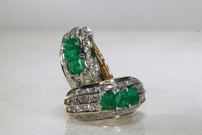 ANTIQUE 14K WHITE & YELLOW GOLD LADIES EMERALD EARRING & DIAMOND
