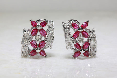 RUBY & DIAMOND FLOWER EARRINGS IN 14k WHITE GOLD SETTING STUD