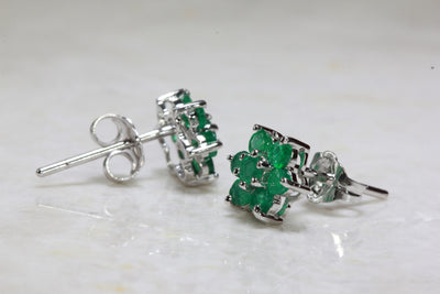 14K WHITE GOLD LADIES EMERALD EARRING FLOWER STUDS