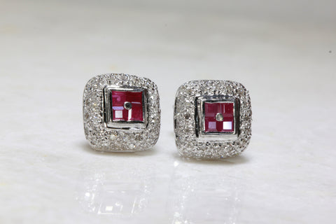 RUBY & DIAMOND SQUARE HALO EARRINGS IN 14k WHITE GOLD SETTING STUDS