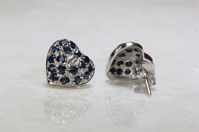 BLUE SAPPHIRE HEART STUD EARRINGS IN 14k WHITE GOLD PAVE SETTING & DIAMONDS