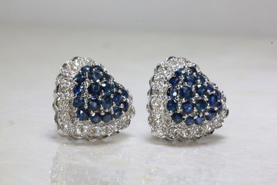 BLUE SAPPHIRE DIAMOND HEART EARRINGS IN 14k WHITE GOLD SETTING