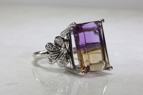ANTIQUE 14K WHITE GOLD LADIES LARGE EMERALD SHAPE AMETRINE DIAMOND RING 15.24CT