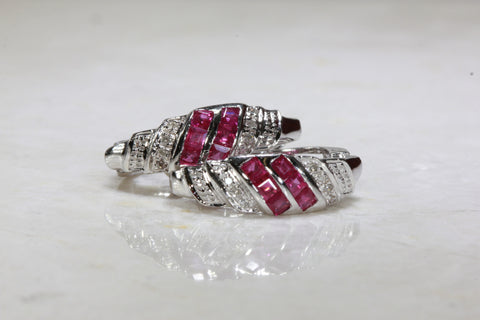 PRINCESS CUT RUBY & ROUND DIAMOND EARRING IN 14k WHITE GOLD SETTING HUGHES