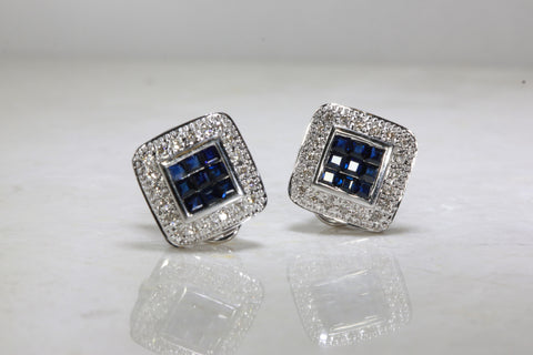 BLUE SAPPHIRE DIAMOND SQUARE HALO EARRINGS IN 14k WHITE GOLD SETTING