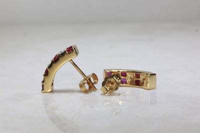 RUBY & DIAMOND EARRING IN 14k YELLOW GOLD SETTING POST
